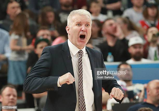 Andrew Gaze Head Coach of the Sydney Kings reacts during the round six NBL match between Melbourne United and the Sydney Kings at Hisense Arena on...