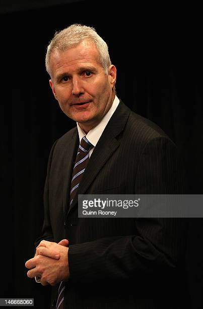 Andrew Gaze of Basketball Australia speaks during the Australian Olympic Games team announcement at Knox Basketball Stadium on June 22 2012 in...