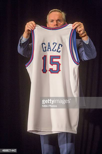 Andrew Gaze's jersey is on display during the NBA Hall announcement at the NCAA Final Four on April 6 2015 in Indianapolis Indiana NOTE TO USER User...