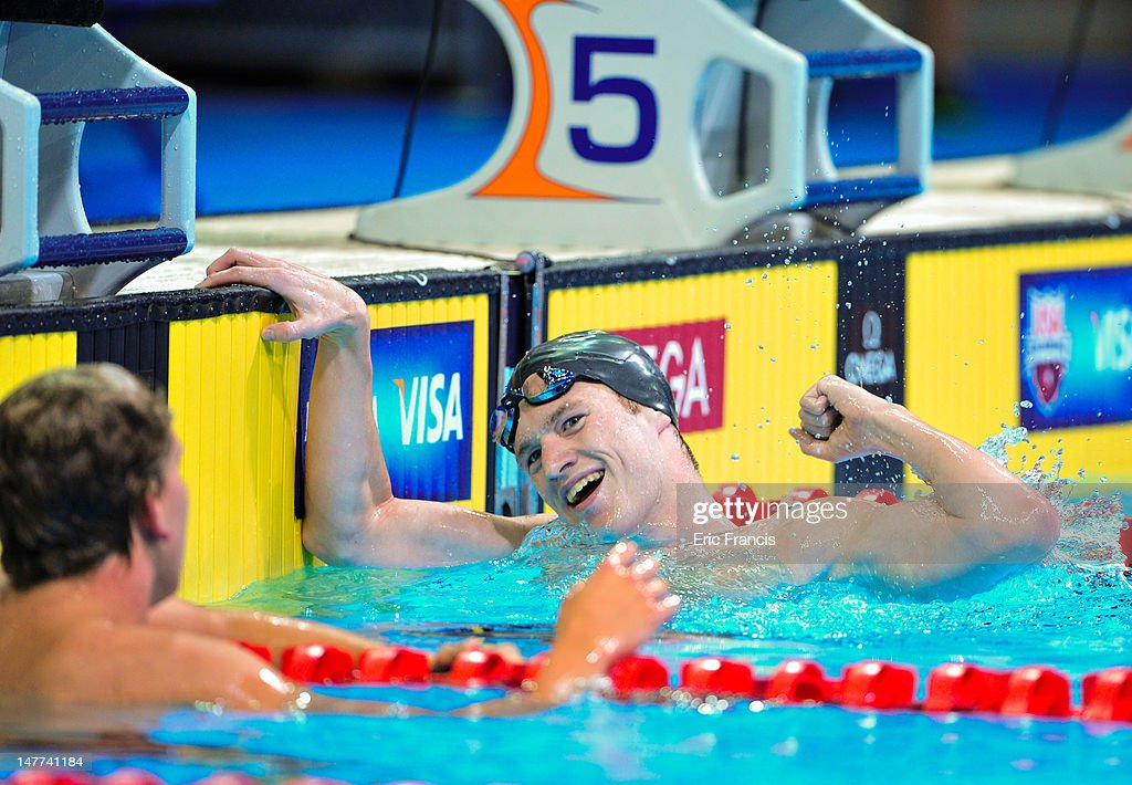 Andrew Gemmel celebrates after finishing the 1500m Freestyle during day eight of the 2012 U.S. Olympic Swimming Team Trials at the CenturyLink Center July 2, 2012 in Omaha, Nebraska.