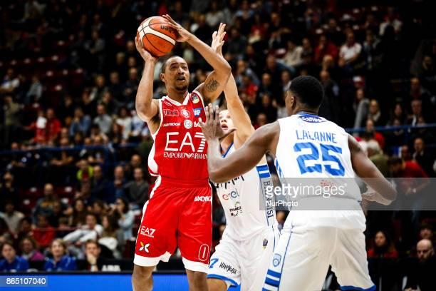 Andrew Goudelock shoots a layup during a basketball game of Poste Mobile Lega Basket A between EA7 Emporio Armani Milano vs Happy Casa Brindisi at...