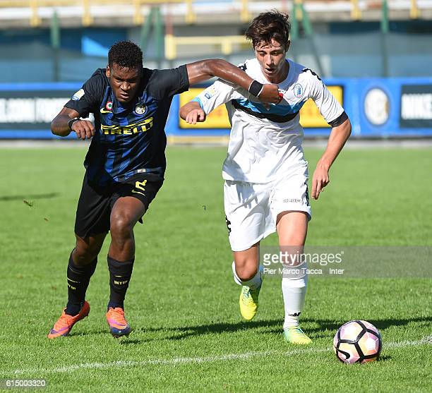 Andrew Gravillon of FC Internazionale Primavera competes for the ball during the Primavera Tim juvenile match between FC Internazionale and Pisa at...