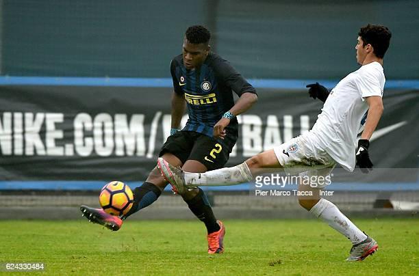 Andrew Gravillon of FC Internazionale Primavera competes for the ball during the Primavera Tim juvenile match between FC Internazionale and Novara...