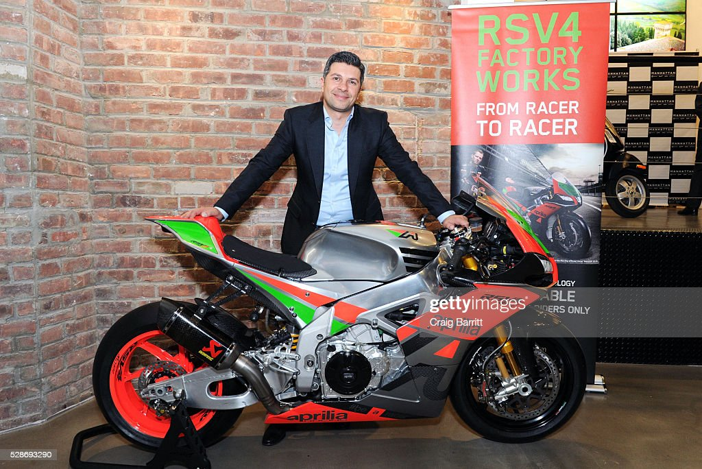 Andrew Hadjiminas, President Vespa Manhattan attends the New York debut of the Aprilia RSV4 World SBK RF Misano & Moto Guzzi MGX-21 Flying Fortress at Vespa Manhattan Flagship on May 6, 2016 in New York City.
