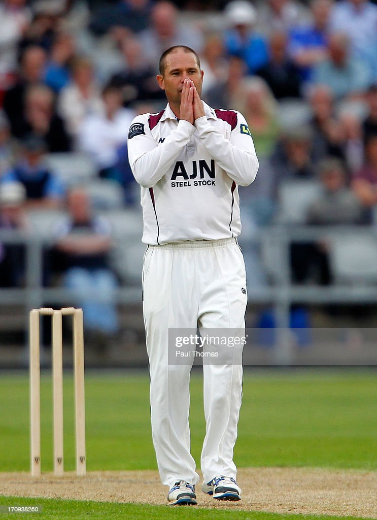 Andrew Hall of Northants reacts during day one of the LV County Championship Division Two match between Lancashire and Northamptonshire at Old Trafford on June 20, 2013 in Manchester, England.