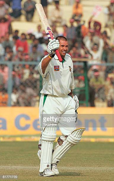 Andrew Hall of South Africa celebrates making 150 runs during Day 2 of the First test between India and South Africa at Green Park on November 21...