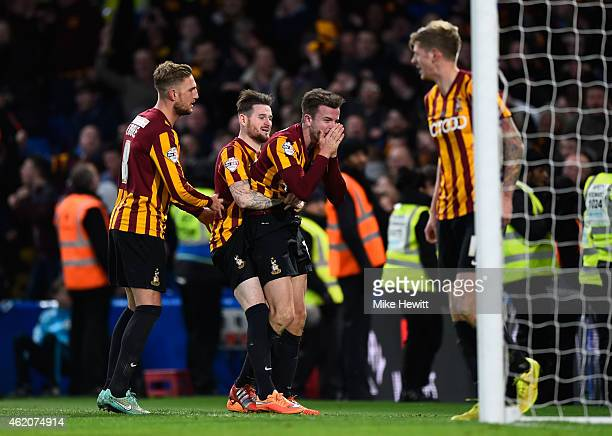 Andrew Halliday of Bradford City celebrates after scoring his team's third goal during the FA Cup Fourth Round match between Chelsea and Bradford...