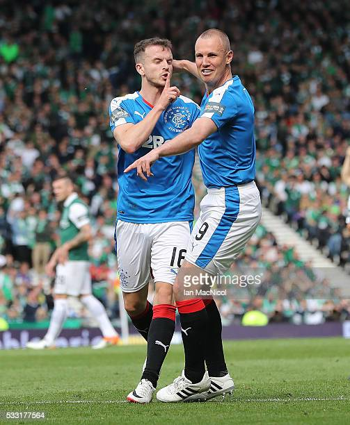 Andrew Halliday of Rangers celebrates scoring during the Scottish Cup Final between Rangers and Hibernian at Hampden Park on May 21 2016 in Glasgow...