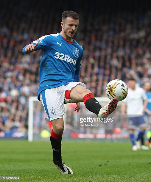 Andrew Halliday of Rangers controls the ball during the Petrofac Training Cup Final between Rangers and Peterhead at Hampden Park on April 10 2016 in...