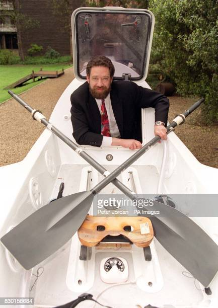 Andrew Halsey launches his bid to row 7000 miles from Western America to the East Coast of Australia at the Royal Geographical Society in London...