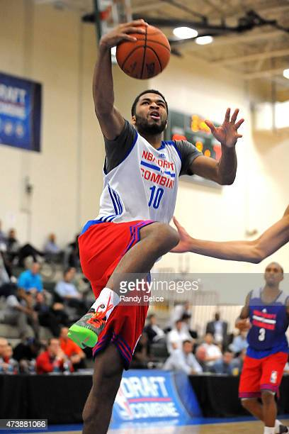 Andrew Harrison drives to the basket during the 2015 NBA Draft Combine on May 15 2015 at Quest Multiplex in Chicago Illinois NOTE TO USER User...