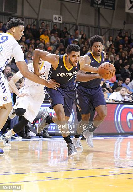 Andrew Harrison of the Iowa Energy dribbles the ball against the Santa Cruz Warriors during the 2016 NBA DLeague Showcase presented by SAMSUNG on...