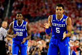 Andrew Harrison of the Kentucky Wildcats reacts during the NCAA Men's Final Four Semifinal against the Wisconsin Badgers at ATT Stadium on April 5...