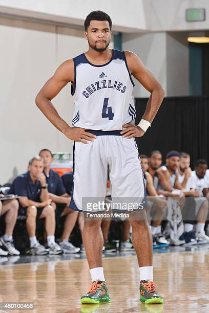 Andrew Harrison of the Memphis Grizzles looks on during the game against the Oklahoma City Thunder on July 9 2015 at Amway Center in Orlando Florida...