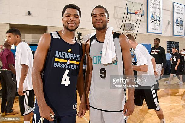 Andrew Harrison of the Memphis Grizzlies and Aaron Harrison of the Charlotte Hornets after the game on July 5 2015 at Amway Center in Orlando Florida...