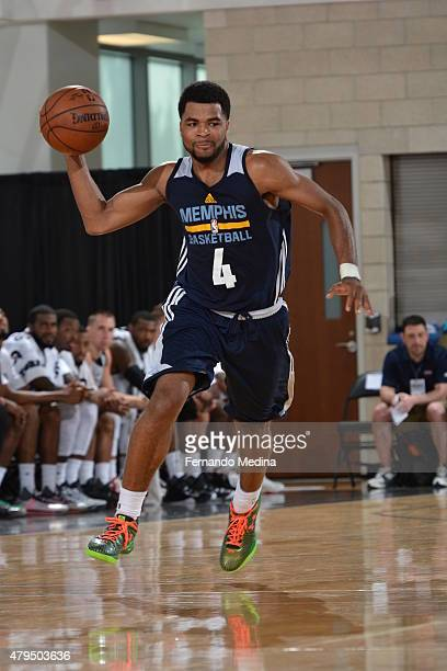 Andrew Harrison of the Memphis Grizzlies brings the ball up court against the Brooklyn Nets on July 4 2015 at Amway Center in Orlando Florida NOTE TO...