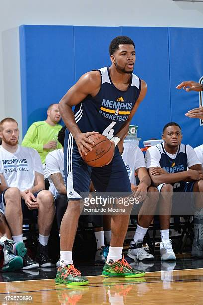 Andrew Harrison of the Memphis Grizzlies defends the ball against the Charlotte Hornets during the game on July 5 2015 at Amway Center in Orlando...