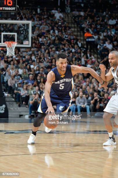Andrew Harrison of the Memphis Grizzlies handles the ball against the San Antonio Spurs during Game Five of the Western Conference Quarterfinals of...
