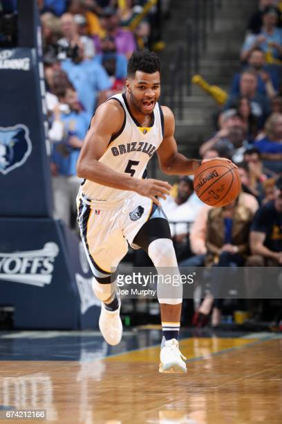 Andrew Harrison of the Memphis Grizzlies handles the ball against the San Antonio Spurs during Game Six of the Western Conference Quarterfinals of...