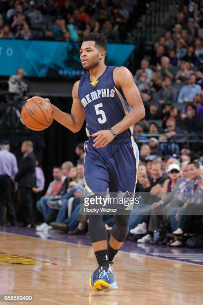Andrew Harrison of the Memphis Grizzlies handles the ball during a game against the Sacramento Kings on March 27 2017 at Golden 1 Center in...