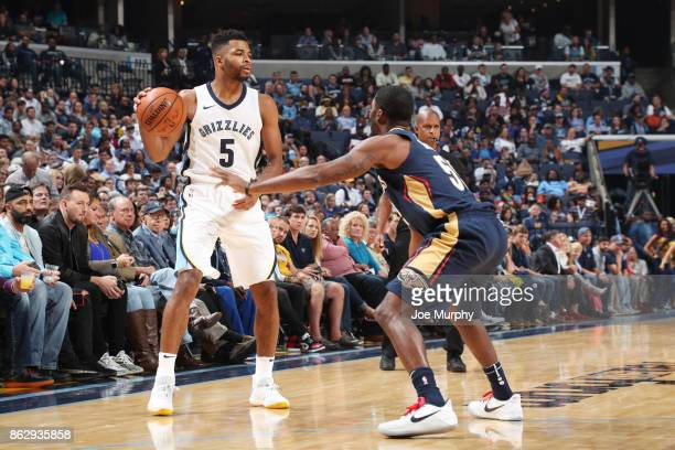 Andrew Harrison of the Memphis Grizzlies handles the ball during the 201718 regular season game against the New Orleans Pelicans on October 18 2017...