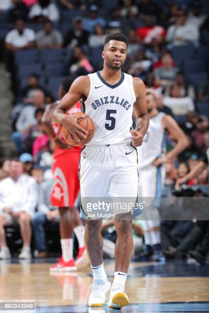 Andrew Harrison of the Memphis Grizzlies holds the ball during a preseason game against the Houston Rockets on October 11 2017 at FedExForum in...