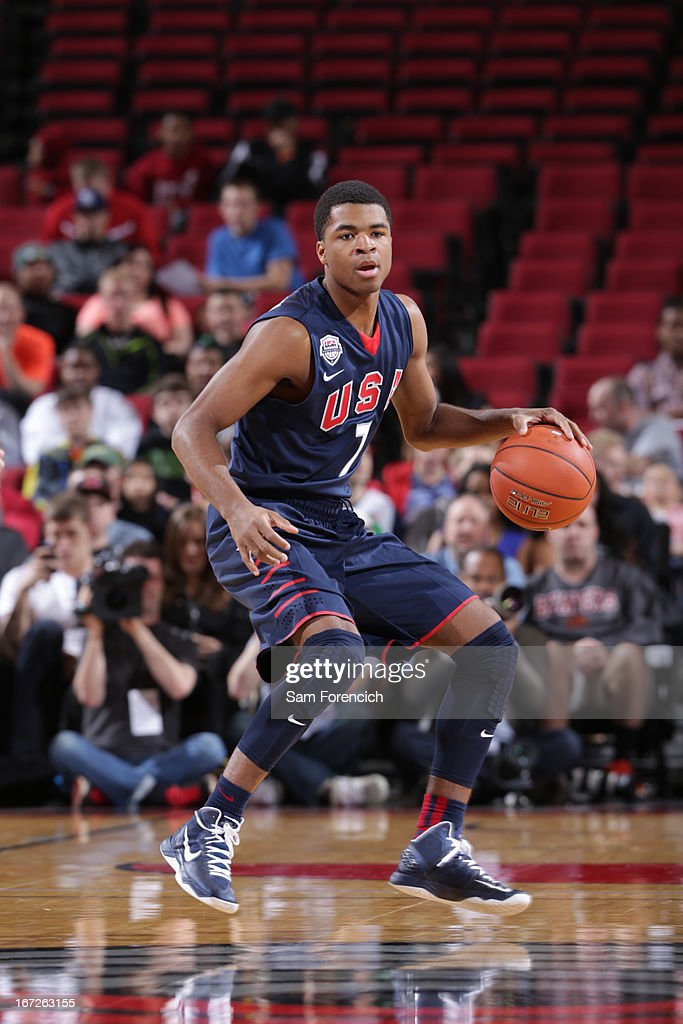 Andrew Harrison #7 of the USA Junior Select Team handles the ball against the World Select Team during the 2013 Nike Hoop Summit game on April 20, 2013 at the Rose Garden Arena in Portland, Oregon.