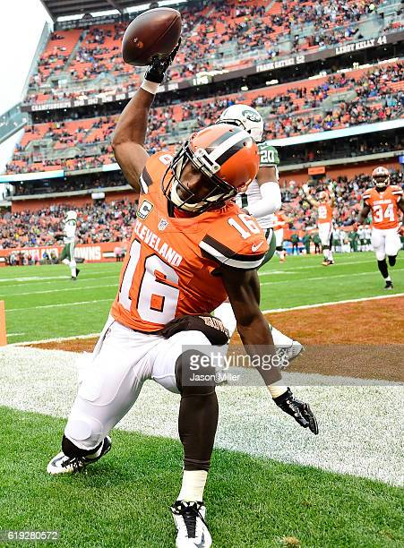 Andrew Hawkins of the Cleveland Browns celebrates his first quarter touchdown against the New York Jets at FirstEnergy Stadium on October 30 2016 in...