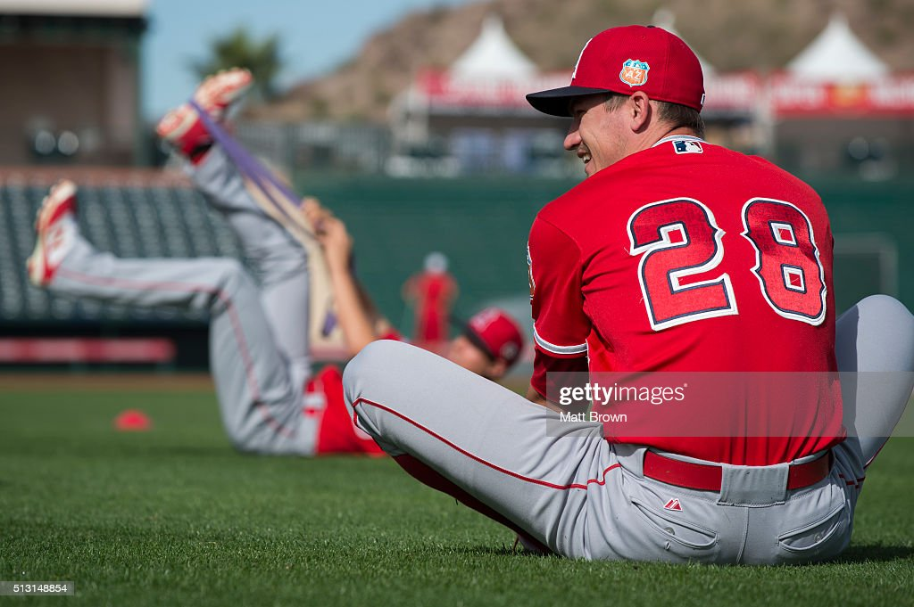 337bdf4c0 ... get andrew heaney 28 of the los angeles angels of anaheim laughs while  stretching during spring