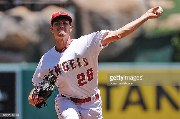 Andrew Heaney of the Los Angeles Angels of Anaheim pitches against the Texas Rangers at Angel Stadium of Anaheim on July 26 2015 in Anaheim California