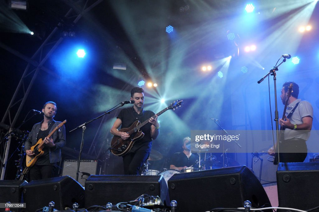 Andrew Heringer, Robbie Arnett and Graham Fink performs on stage as part of the annual Summer Series of open-air concerts at Somerset House on July 15, 2013 in London, England.