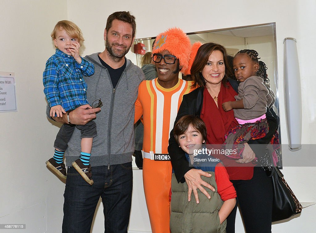 Andrew Hermann, Peter Hermann, DJ Lance Rock, August Hermann, <a gi-track='captionPersonalityLinkClicked' href=/galleries/search?phrase=Mariska+Hargitay&family=editorial&specificpeople=204727 ng-click='$event.stopPropagation()'>Mariska Hargitay</a> and Amaya Josephine Hermann attend 'Yo Gabba Gabba! Live!' at The Beacon Theatre on December 21, 2013 in New York City.