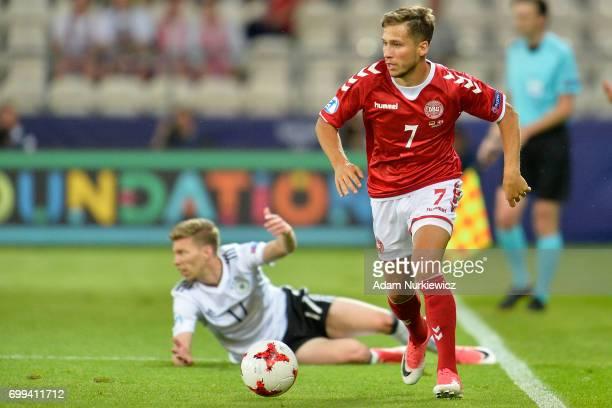 Andrew Hjulsager from Denmark U21 controls the ball during Germany v Denmark 2017 UEFA European Under21 Championship on June 21 2017 in Krakow Poland
