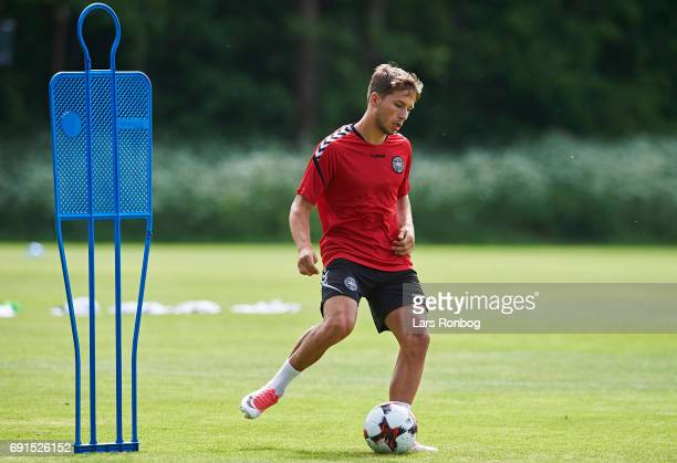 Andrew Hjulsager in action during the Denmark training session at Brondby Stadion on June 2 2017 in Brondby Denmark