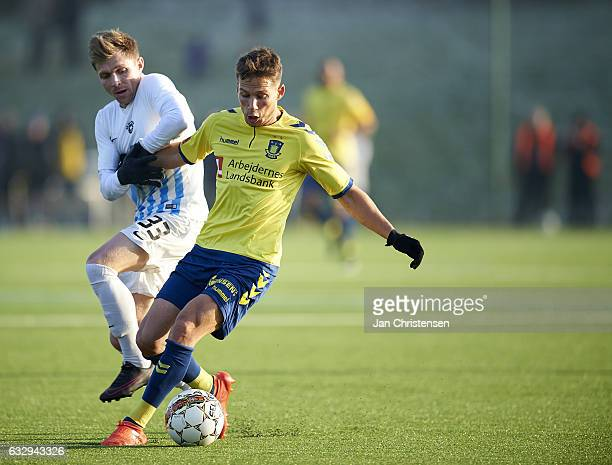 Andrew Hjulsager of Brondby IF compete for the ball during the preseason friendly match between Brondby IF and Roskilde FC at Brondby Stadion on...