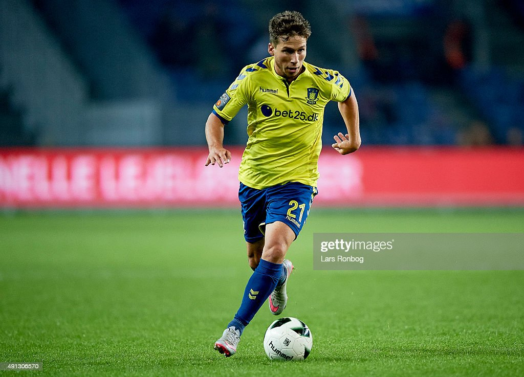 Andrew Hjulsager of Brondby IF controls the ball during the Danish Alka Superliga match between Brondby IF and Esbjerg fB at Brondby Stadion on October 4, 2015 in Brondby, Denmark.