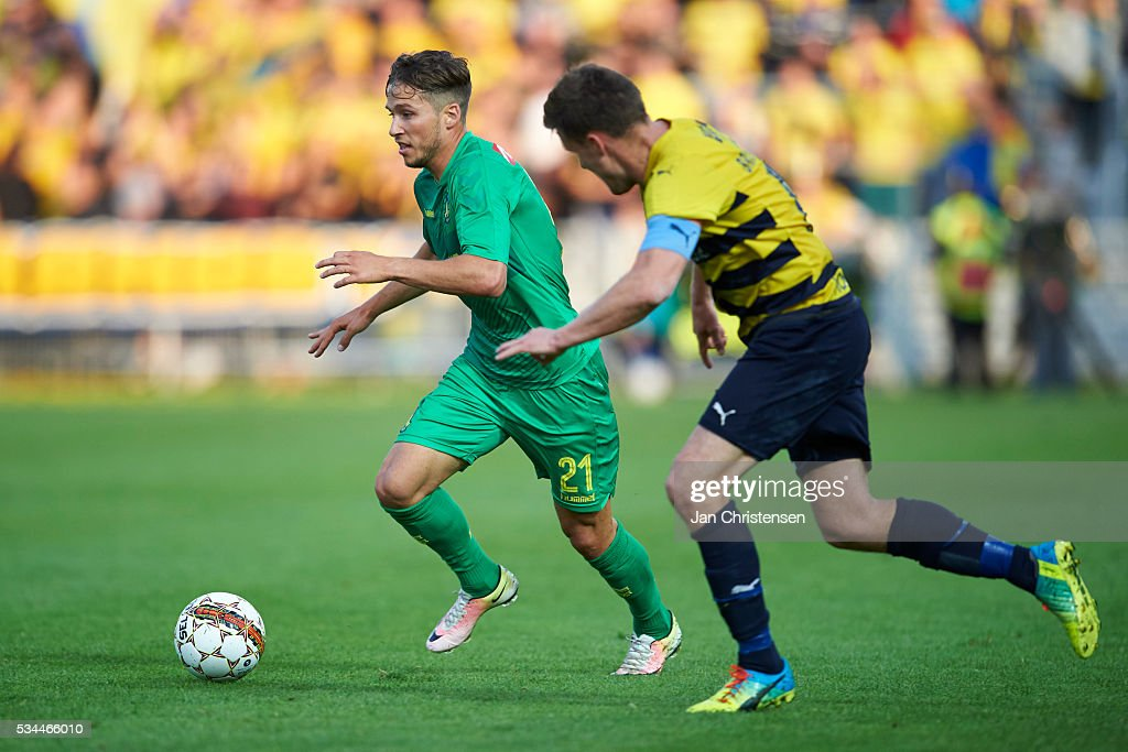 Andrew Hjulsager of Brondby IF controls the ball during the Danish Alka Superliga match between Hobro IK and Brondby IF at DS Arena on May 26, 2016 in Hobro, Denmark.