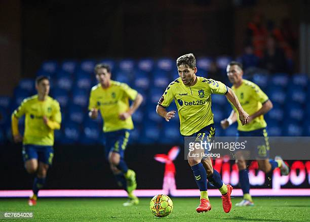 Andrew Hjulsager of Brondby IF controls the ball during the Danish Alka Superliga match between Esbjerg fB and Brondby IF at Blue Water Arena on...