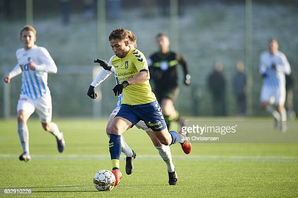Andrew Hjulsager of Brondby IF controls the ball during the preseason friendly match between Brondby IF and Roskilde FC at Brondby Stadion on January...