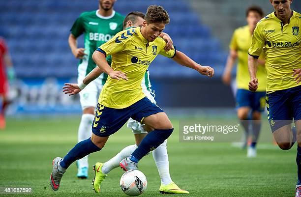 Andrew Hjulsager of Brondby IF controls the ball during the UEFA Europa League Qualification match between Brondby IF and PFC Beroe Stara Zagora at...