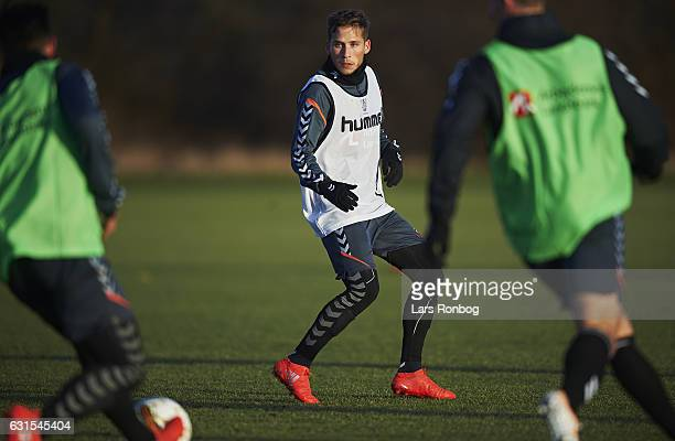 Andrew Hjulsager of Brondby IF in action during the Brondby IF training session at Brondby Stadion on January 12 2017 in Brondby Denmark