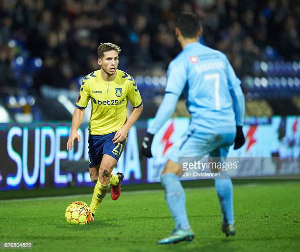 Andrew Hjulsager of Brondby IF in action during the Danish Alka Superliga match between Randers FC and Brondby IF at BioNutria Park Randers on...