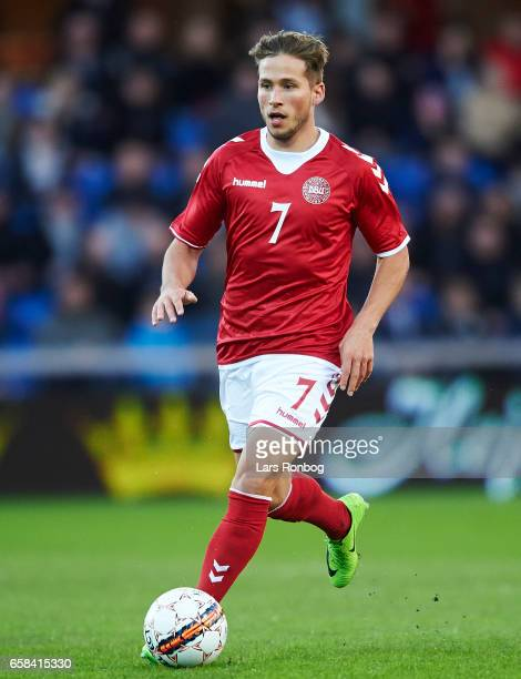 Andrew Hjulsager of Denmark U21 controls the ball during the U21 International friendly match between Denmark and England at BioNutria Park on March...