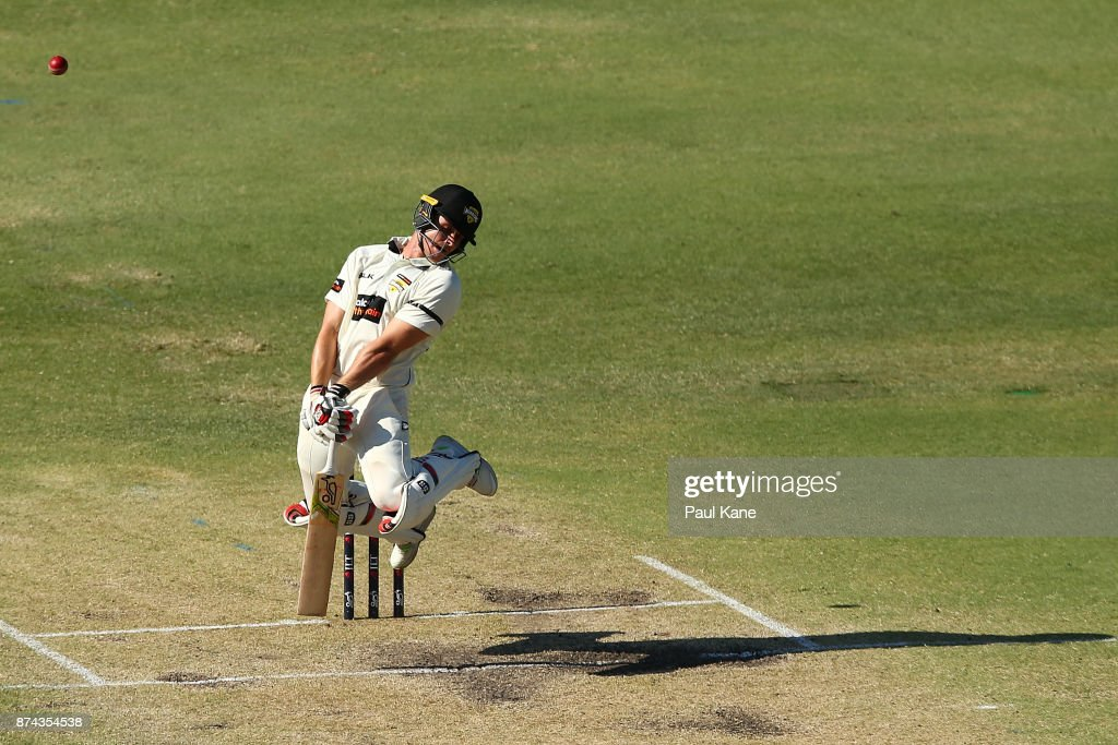 Andrew Holder of Western Australia avoids a rising delivery from Kane Richardson of South Australia during day three of the Sheffield Shield match between Western Australia and South Australia at WACA on November 15, 2017 in Perth, Australia.