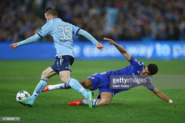 Andrew Hoole of Sydney FC takes the ball past Dominic Solanke of Chelsea during the international friendly match between Sydney FC and Chelsea FC at...