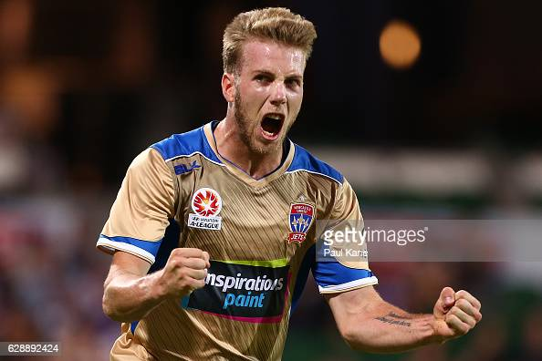 Andrew Hoole of the Jets celebrates a goal during the round 10 ALeague match between the Perth Glory and the Newcastle Jets at nib Stadium on...