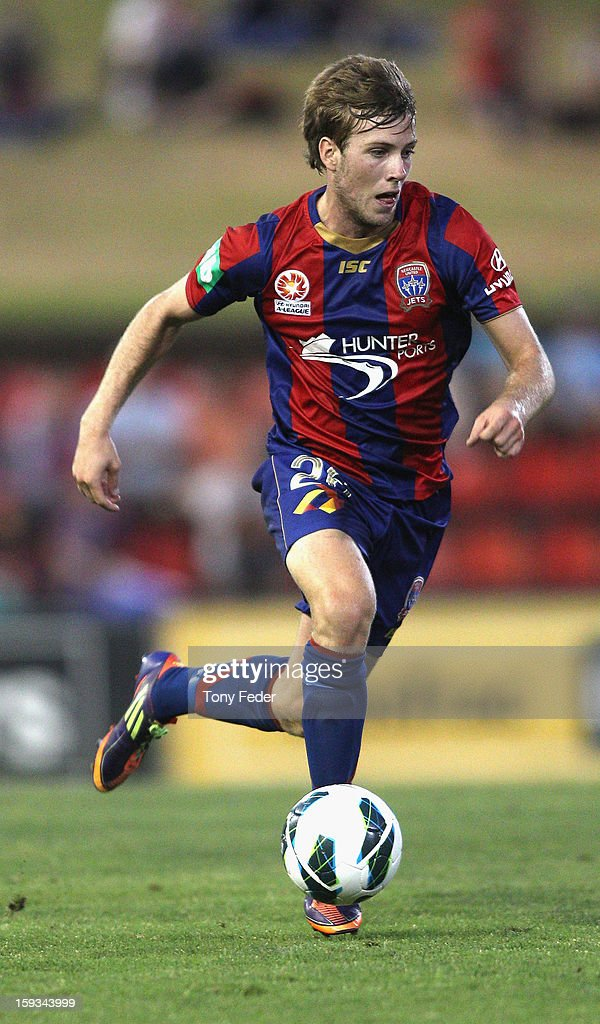 Andrew Hoole of the Jets in action during the round 16 A-League match between the Newcastle Jets and the Brisbane Roar at Hunter Stadium on January 12, 2013 in Newcastle, Australia.