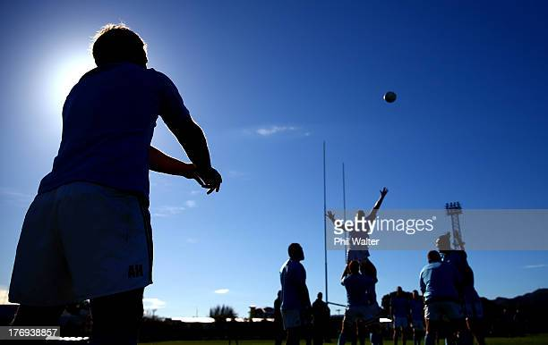 Andrew Hore of the All Blacks throws the ball into the lineout during a New Zealand All Blacks training session at the Lower Hutt Recreation Ground...