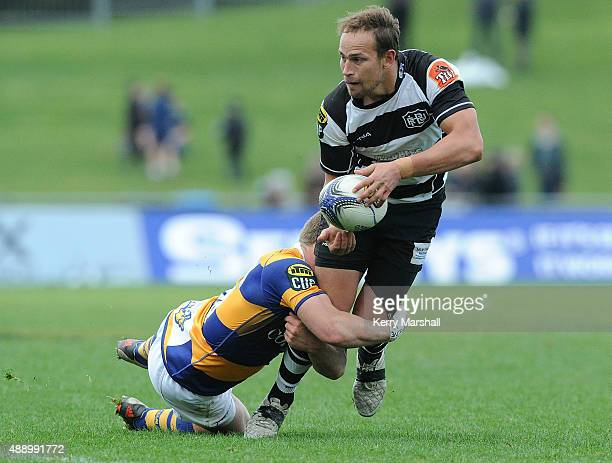 Andrew Horrell of Hawkes Bay looks for support during the ITM Cup match between Hawke's Bay and Bay of Plenty on September 19 2015 in Napier New...