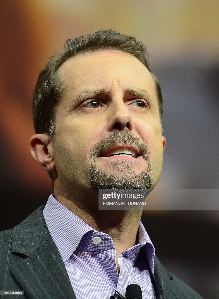 Andrew House, current president and Group CEO of Sony Computer Entertainment, introduces the PlayStation 4 at a news conference February 20, 2013 in New York.